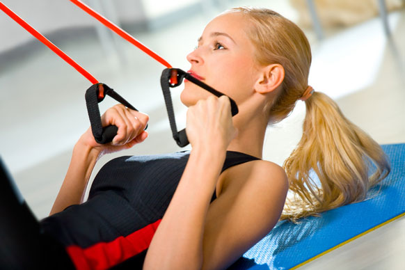 woman exercising in a home gym